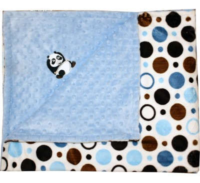Blue and Brown Circles/Baby Blue Minky Dot Blanket with PANDA
